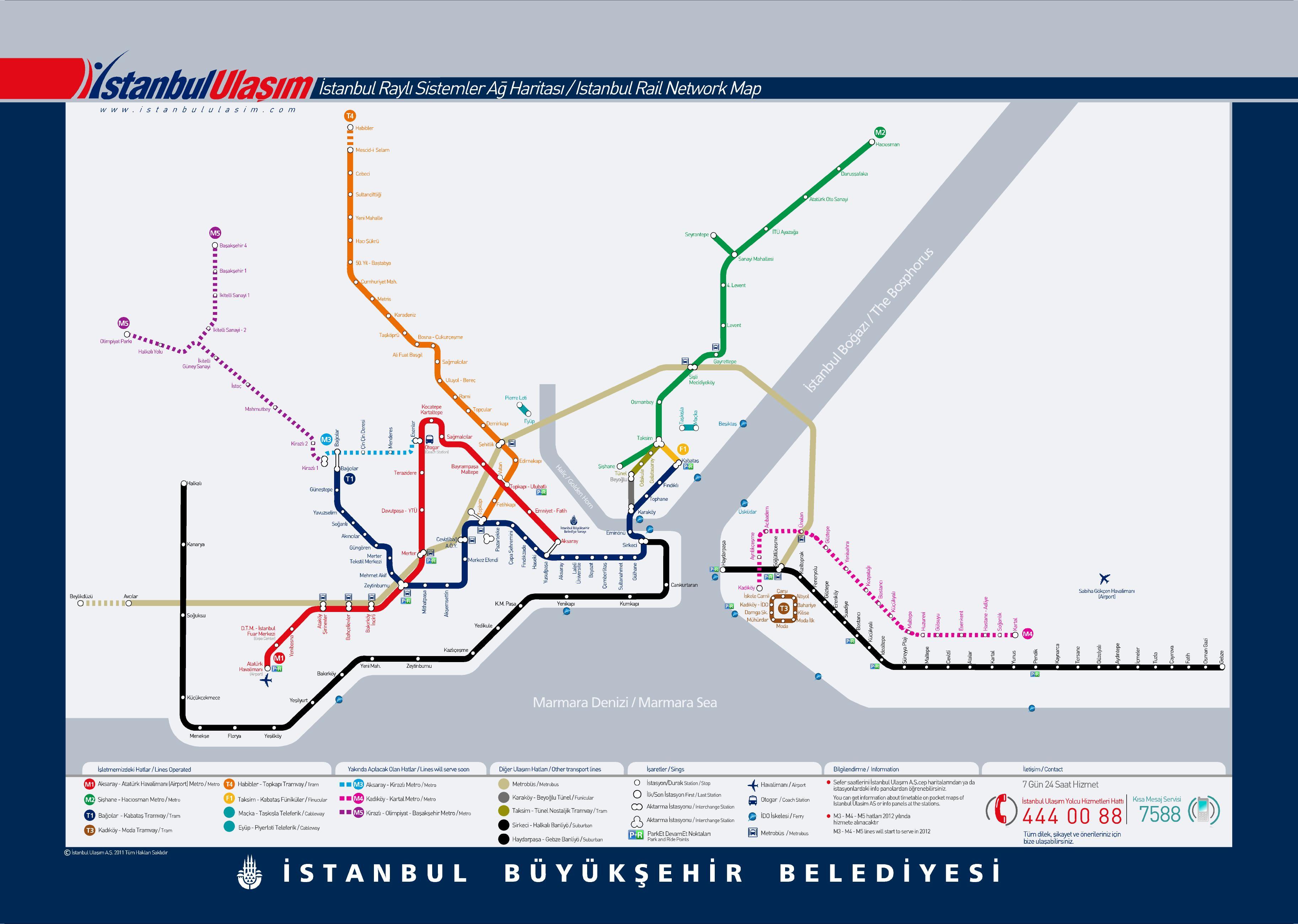 IstanbulRails.  Актуальная карта-схема метро, трамвая и всего остального рельсового городского транспорта.